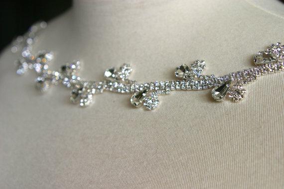 Hochzeit - Authentic Crystal Rhinestone Trim, Bridal Sash, Wedding Accessory, Bridal Applique, Wedding Applique, Bouquet Wrap, DIY Wedding, CR-155