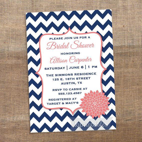 زفاف - Navy Blue and Coral Chevron Printable Bridal Shower Invitation, Blue and Coral Mum Invite, Wedding Shower Invitation