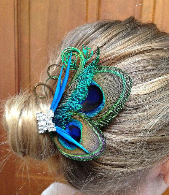Mariage - Reserved for Katie-Customize- Peacock hair clip-, clutch purse,sash, broach and