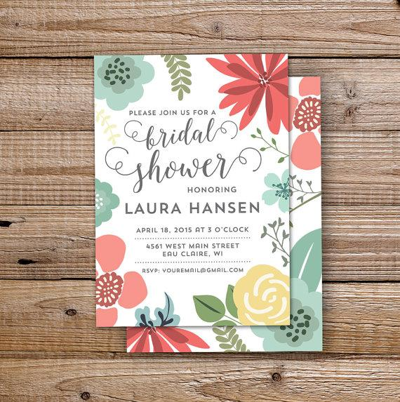 diy printable bridal shower invitation soft flowers