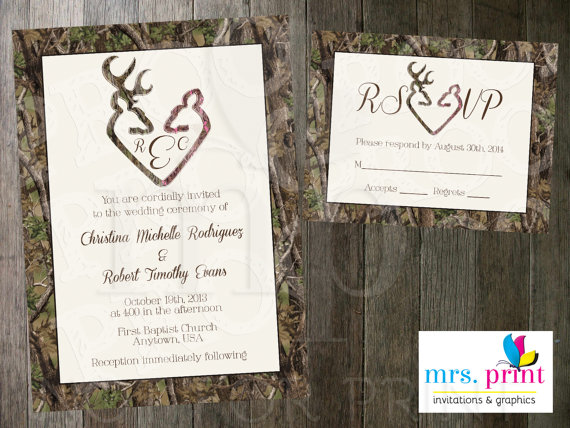 Superior Camo Deer Hearts Wedding Invitation And RSVP Card