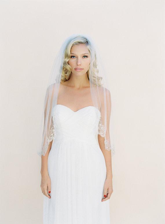 Свадьба - Silver Beaded and Embroidered Wedding Veil, Single Layer Bridal Veil, Swarovski Crystals, Tulle Veil, Cathedral Veil #1525