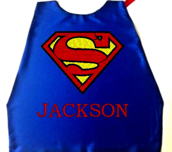 Super Hero Cape Kid S Embroidered Superman Logo Personalized With Name Royal Blue