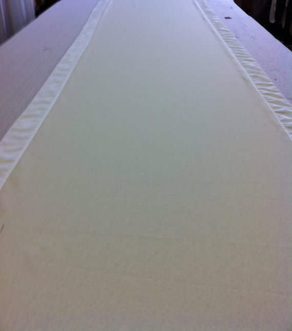 Custom Made Aisle Runner Two Colors Ivory Gabardine And Off White Satin Accents 50 Feet Long 48 Inches Wide Listing