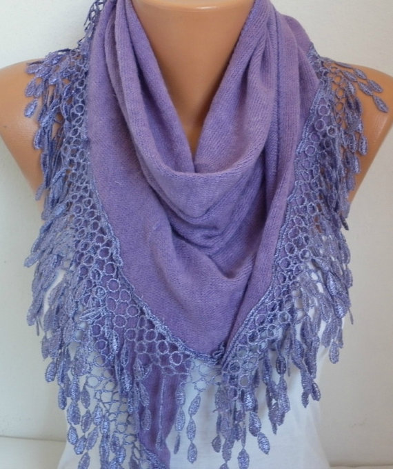 Свадьба - Lilac Knitted Scarf Lavender Shawl Lace Oversized Bridesmaid Bridal Accessories Gift Ideas For Her Women Fashion Accessories Mother Day Gift