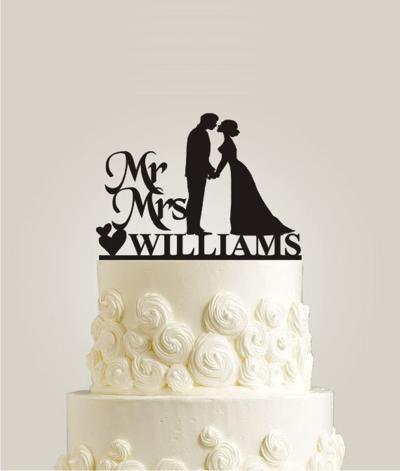 Mr And Mrs Williams Wedding Cake Topper Personalized Last Name Bride Groom Custom Silhouette Couple Decor