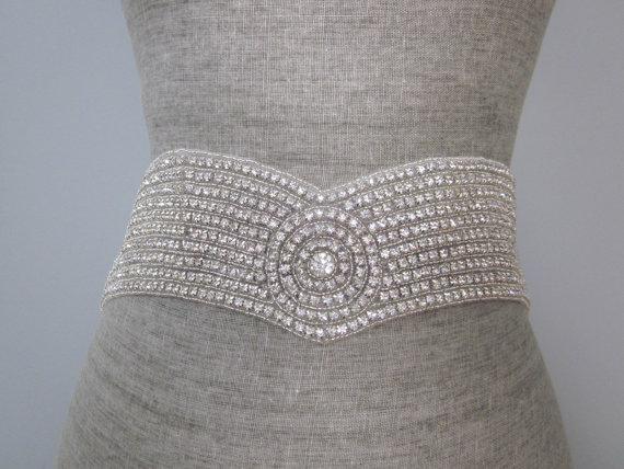 Wedding - Sparkling wide Crystal Rhinestone Sash  belt Vintage V Shape glass rhinestone Art deco sash