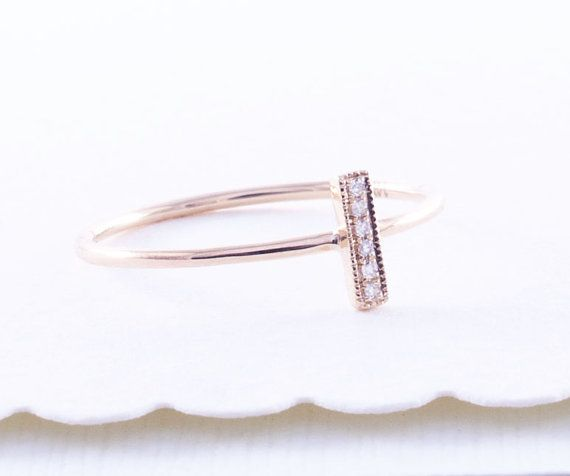 Wedding - 14K Gold Bar Ring, Pave Diamond Ring, Stacking Gold Ring, Diamond Ring,Diamond Bar Ring,Tula Jewelry