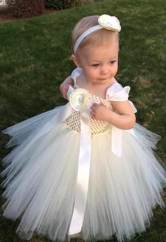 Wedding - The Ivory Rose Christening Tutu Dress Set, Special Occassion Dress, Flower Girl Dress, Baptism tutu Dress, Birthday Tutu