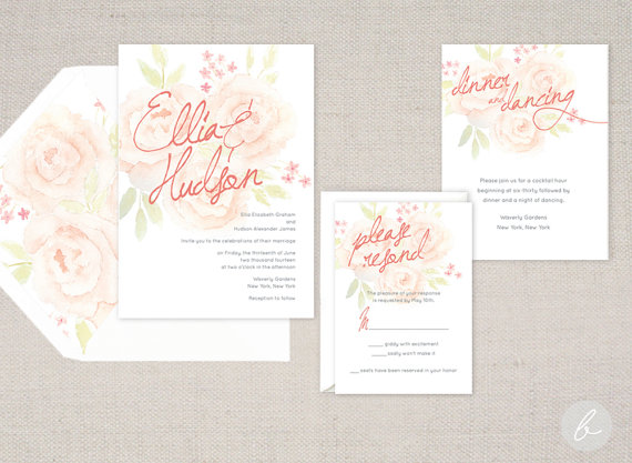 English Garden Peach Watercolor Wedding Invitation Collection