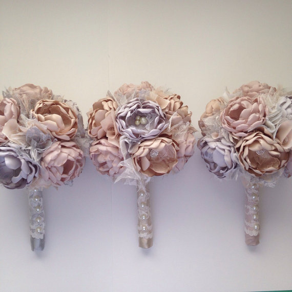 Mariage - Champagne, Blush and Silver Bridesmaid Bouquet - Metallic Wedding, Gold, Rose Gold, Silver, Heirloom Bouquet, Fabric Bouquet, Small Bouquet