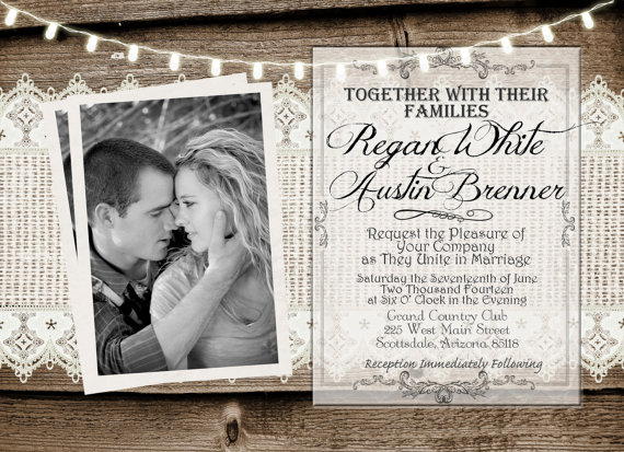 Wedding - Rustic and Lace Wedding Invitation, Lights, Wood Fence, Photo Invitation, Digital File, Printable, 5x7