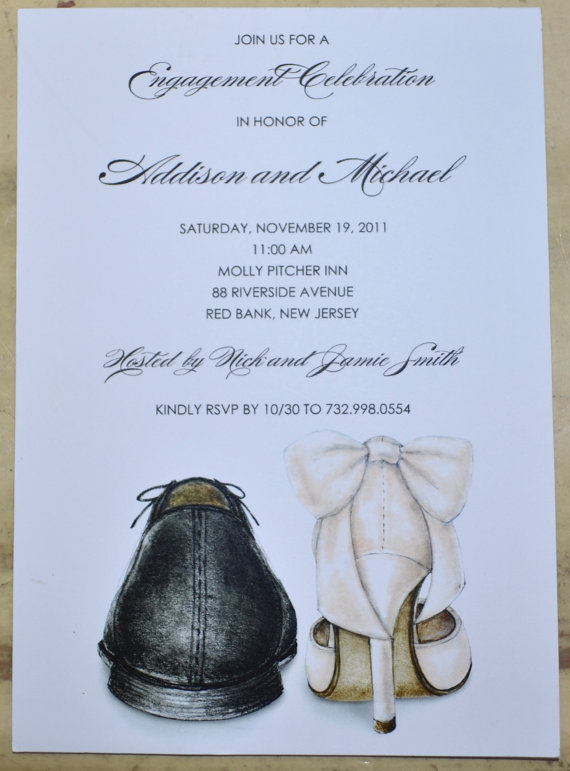 Hochzeit - Engagement Party/Rehearsal Dinner/Bridal Shower Invitations Shoe Theme - All Copy Personalized
