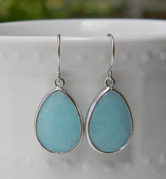 Свадьба - Turquoise Blue Earrings Trimmed in Silver-Drop Earrings-Dangle Earrings-Bridal
