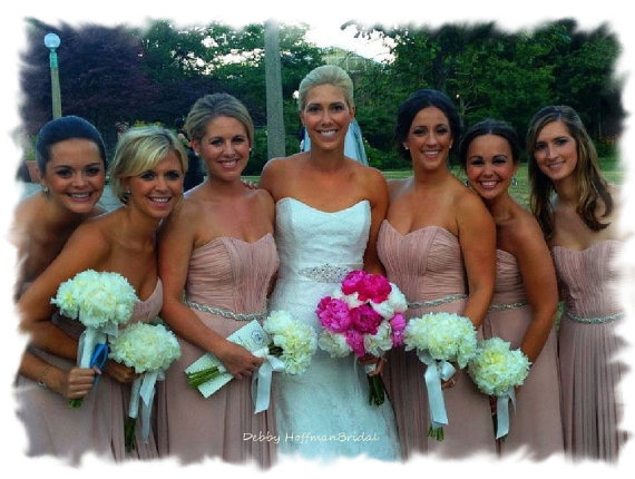 Свадьба - Custom Order for Lauren, 7 Bridesmaids Belts, Bridal Party Belt, Rhinestone Crystal Bridesmaid Sash, No. 1126, Wedding Party Accessories