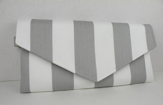 Wedding - Storm Gray and White-Envelope Clutch-Weddings-Evening Bag-Bridesmaid Gift -CANOPY