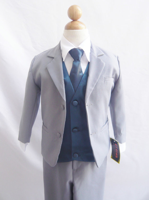 4945a5b0d Formal Boy Suit Gray With Blue Navy Vest For Toddler Baby Ring ...
