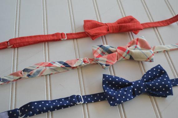 زفاف - Little Boys Bowties - Choice of 3 adorable patterns - Navy Dot, Coral, Plaid - Easter, Graduation, Wedding, Ringbearer
