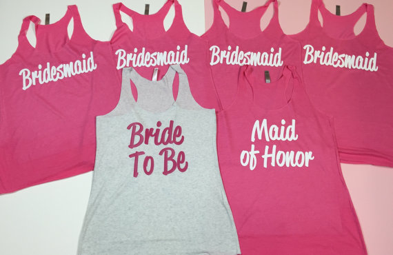 11 Bridesmaid Tank Tops Bride Shirt Bridesmaid Shirt Bachelorette Party Shirts Bride Gift