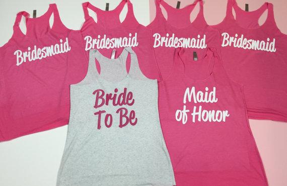 11 Bridesmaid Tank Tops. Bride Shirt. Bridesmaid Shirt. Bachelorette ...