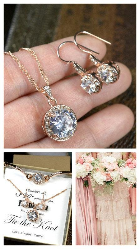 Mariage - Rose Gold Bridal Set, Bridesmaids Jewelry Set, Crystal Pendant and Earrings, Wedding Jewellery, Rose Gold Bridal Jewelry SET,silver set