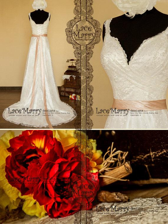 Mariage - Dream Lace Sheath Style Wedding Dress Features Deep Lace Trimmed Neckline and Straps, Comes with Satin Sash