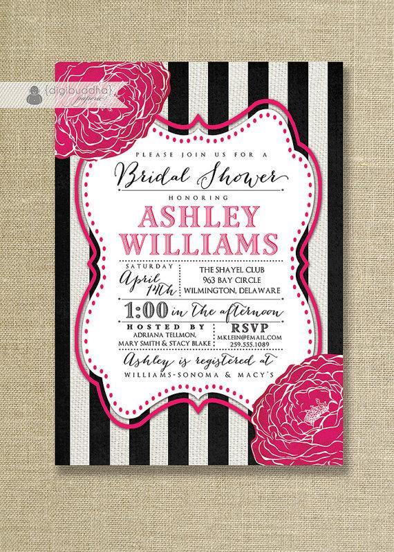 Свадьба - Fuchsia Black & White Bridal Shower Invitation Striped Hot Pink Linen Shabby Chic Wedding FREE PRIORITY SHIPPING or DiY Printable - Ashley