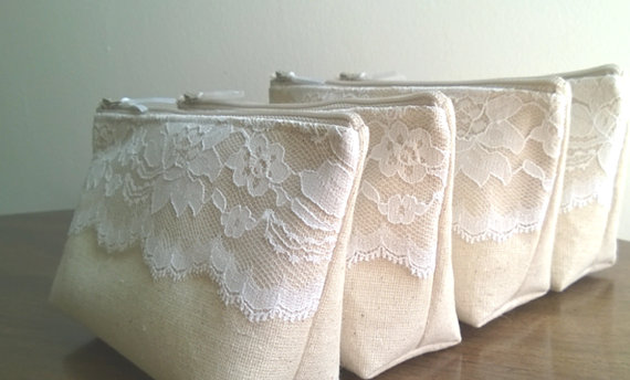 Wedding - Get One FREE - Rustic Wedding, Linen and Lace Bridesmaid Clutch, Clutches Set of 9
