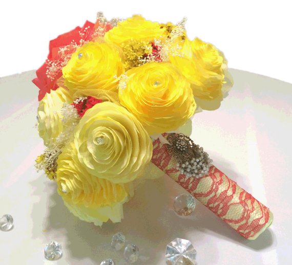 Свадьба - Red and yellow bouquet, Disney's Beauty and the Beast inspired bouquet, Rose and Peonies using coffee filter paper, lace and dried flowers