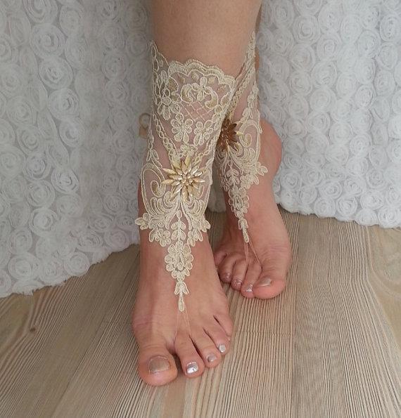 Wedding - Free Ship --- bridal anklet, gold embrodeired, Beach wedding barefoot sandals, bangle, wedding anklet, anklet, bridal, wedding