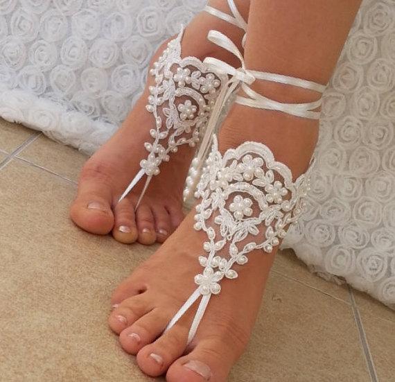 Wedding - ivory Beach wedding barefoot sandals