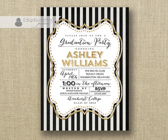 Black Gold Glitter Graduation Party Invitation Vertical Stripes – Black and Gold Graduation Invitations