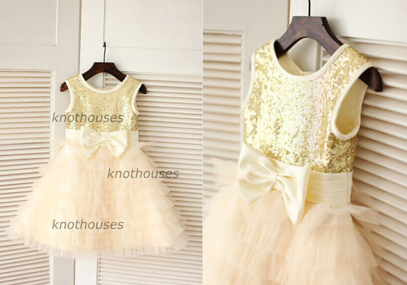 4ffc4a895b Gold Sequin  Champagne Tulle Big Bow Cupcake Flower Girl Dress Children  Toddler Party Dress for Wedding Junior Bridesmaid Dress