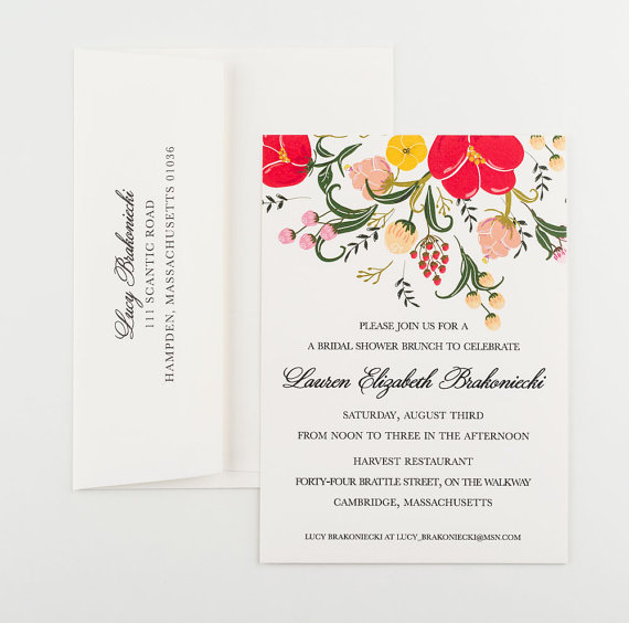 Свадьба - Red Poppy Bridal Luncheon Invitation
