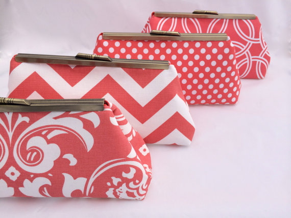 Mariage - Coral Bridesmaids Handbag Custom Gift Clutch in Coral- Custom Design your Own Wedding Party gift in various patterns and colors