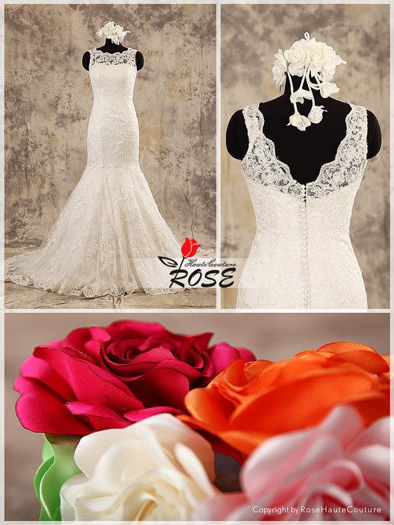 Wedding - Ivory Wedding Dress Lace Mermaid Sleeveless Sweetheart Neckline with Button Over Zipper Back Style WD201