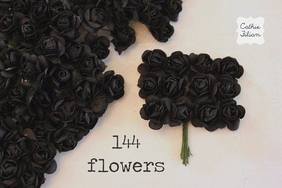144 black paper flowers small bouquet wedding bridal baby