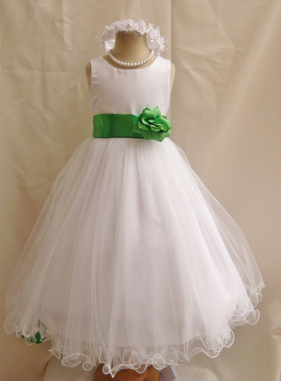 db1f68bb49388 Flower Girl Dresses - WHITE With Green Kelly (FD0FL) - Wedding ...