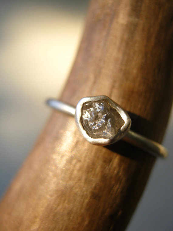 Wedding - Rough Diamond Engagement ring - Sterling Silver - Small diamond Tiny diamond- Hand made bezel setting by Metalmorphoz - UPDATED NEW DIAMONDS