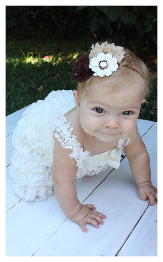 Captivating Ivory Lace Petti Dress With Headband....Photo Prop, Baptism, Flower Girl,  Wedding, Party Dress (Infant, Toddler, Child)