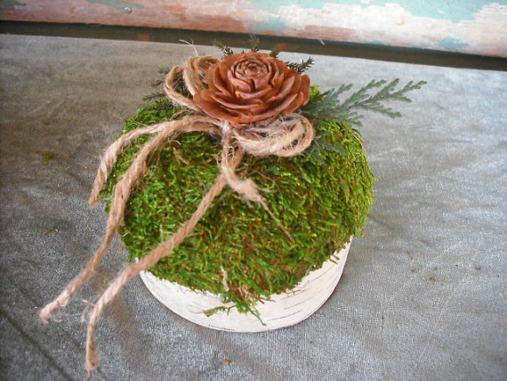 Wedding - Winter Birch and moss ring bearer pillow, for your Christmas, nature, woodland, rustic themed wedding.