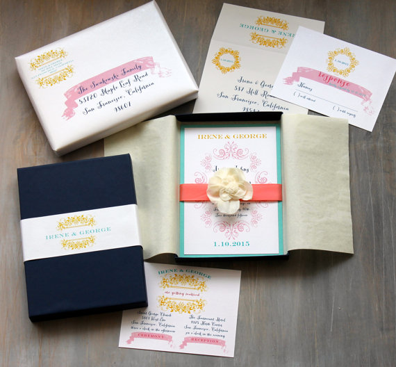 boxed wedding invitations modern beach wedding invitation navy coral yellow french countryside box invite sample new lower price - Boxed Wedding Invitations