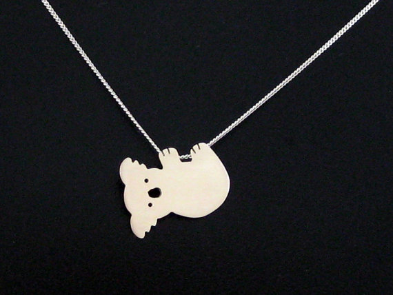Mariage - Silver Koala Necklace - Koala Bear Jewelry - Kawaii Pendant - Australia Wedding Jewelry