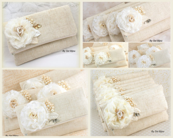 Mariage - Linen Bridesmaids Clutches, Handbags, Bags, Shabby Chic, Rustic Wedding in Ivory, Silver and Cream with Lace and Pearls, Vintage Inspired