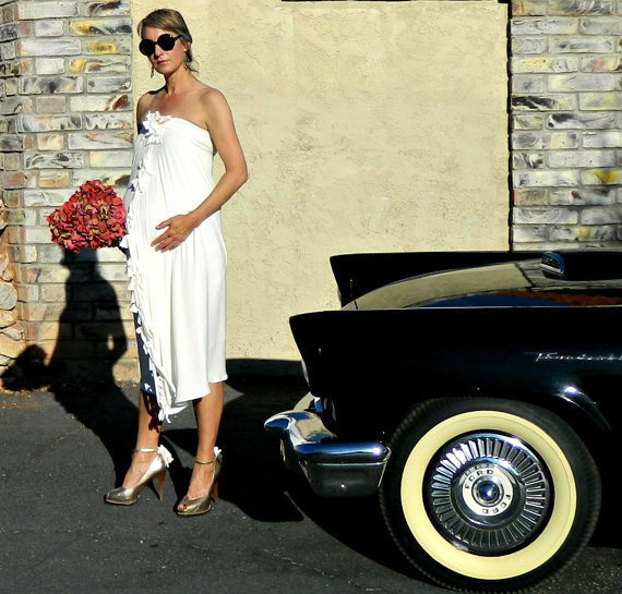 RESERVED Pregnant Bride Wedding Dress Gown Strapless Tea Length Ruffle Fringe Bows Sheath Chic Modern Bridal Clothing All Body Types