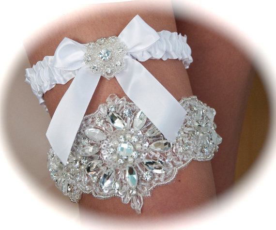 Wedding Garter Set, Swarovski Crystals Bride Garter