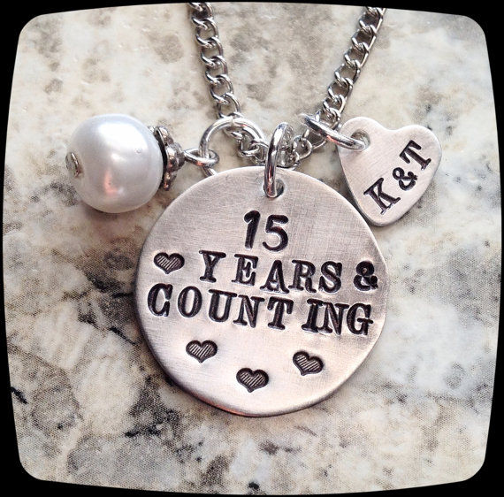 Anniversary Jewelry 10 Year 20 Wedding Gift Present Wife Necklace Couple Charm