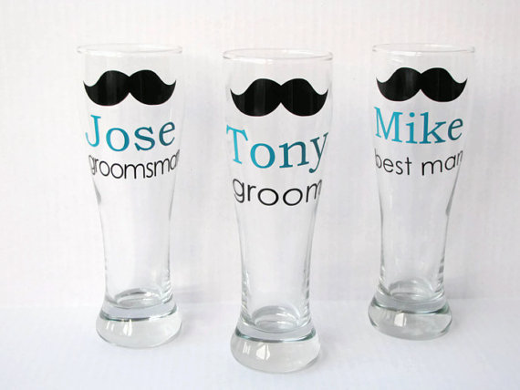 Свадьба - 7 Personalized Groomsmen Beer Mugs, Groomsmen Pilsner Mugs, Groomsmen Gift, Best Man Gift