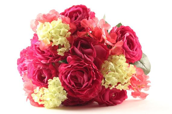 Rose hydrangea bouquet pink coral green silk flowers wedding rose hydrangea bouquet pink coral green silk flowers wedding bridal tossing bouquet wedding bridal party bridesmaids mightylinksfo