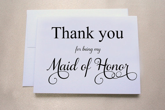 Thank You For Being My Maid Of Honor Wedding Day Card Shimmer